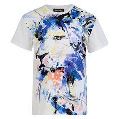 f68dd47fdf Roberto Cavalli Kids Girls White T-Shirt with Blue Lion Print. Chocolate  Clothing