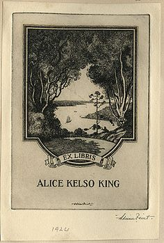 Adrian FEINT bookplate for Alice Kelso King. (1924)
