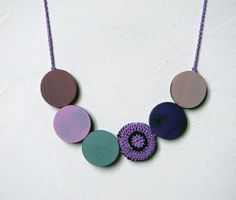 Statement wood necklace. Pastel colors. Purple aqua by ylleanna, €30.00