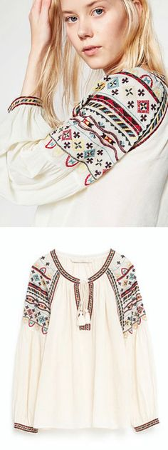 $38.00 - A Boho Embroidery Top is Now Available at Pasaboho  ( This top exhibits brilliant colours with unique embroidered pattern )
