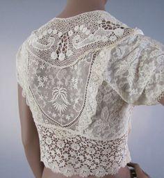 ed56df5805 Antique Irish Crochet   Mixed Lace Silk Lingerie Blouse Sponsored By   Grandma s Crochet Shop