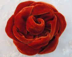 3.5 inch Eggplant Velvet Ribbon Rose Fabric by delightfuldesigner