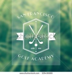 Golf Academy vintage white logo, emblem with golf clubs, vector illustration - stock vector