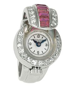 Swiss Patek - Smaller movements and crown-winding systems allowed creativity to flourish, as seen in this ring watch made by Patek Philippe. Patek Philippe, Antique Watches, Vintage Watches, Ring Watch, Bracelet Watch, Art Deco Watch, Fine Watches, Women's Watches, Diamond Watches