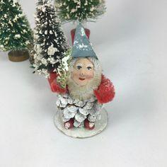 Vintage Christmas ornament Santa Elf Gnome pinecone  clay face 1940s50s felt chenille cardboard from MilkweedVintageHome by MilkweedVintageHome on Etsy https://www.etsy.com/listing/477769853/vintage-christmas-ornament-santa-elf