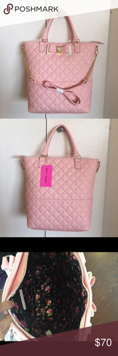"❗️final❗️Betsey Johnson pink tote handbag Brand new Betsey quilted tote. Top zipper closure. Bag comes with a crossbody strap . Goldtone hardware. Zipper has Betsey heart . Cute bow in front. Height 14"" top width 16"" bottom width 10.5"" short strap about 8"" . Betsey Johnson Bags Totes"