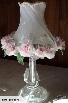 SET OF TWO ROSE LAMPS | Trade Me -- add pink shabby chic flowers to Mom's crystal lamps.