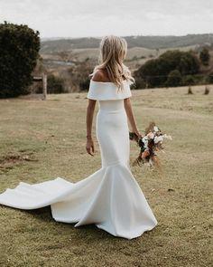 42 Off The Shoulder Wedding Dresses To See ❤ off the shoulder wedding dresses simple sheath with train one day #weddingforward #wedding #bride