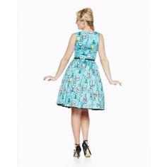 Audrey Cocktail Print Swing Dress | Vintage Inspired Fashion Lindy Bop