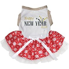 Petitebella Puppy Clothes Dog Dress Happy New Year 2018 White Top Snowflake Tutu (Large) >>> Check this awesome product by going to the link at the image. (This is an affiliate link) #Dogs