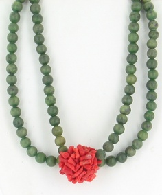 Vintge Deco 1920s Jade Coral Chinese Sterling Double Bead Necklace Special | eBay