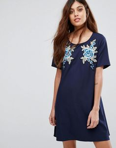 Buy it now. Rage Embroidered Shift Dress - Navy. Dress by Madame Rage, Woven fabric, Scoop neck, Short sleeves, Embroidered floral design, Regular fit - true to size, Machine wash, 100% Polyester, Our model wears a UK 8/EU 36/US 4 and is 175cm/5'9 tall. , vestidoinformal, casual, camiseta, playeros, informales, túnica, estilocamiseta, camisola, vestidodealgodón, vestidosdealgodón, verano, informal, playa, playero, capa, capas, vestidobabydoll, camisole, túnica, shift, pleat, pleated, drap...