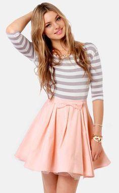 The Going Gets Puffed Peach Mini Skirt