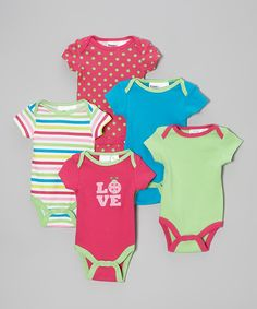 Another great find on #zulily! Pink & Green Bodysuit Set - Infant by Peanut Buttons #zulilyfinds