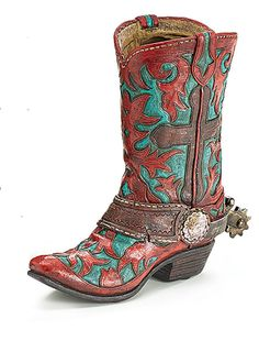 Cowboy Boot Vase Burnt Red Turquoise Brown Cross Western Event Table  Centerpiece  BurtonBurton  Western b4c4bdeebd2