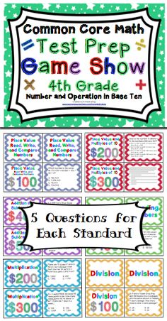 4th Grade Common Core Math Test Prep Review (Numbers and Operations in Base Ten) Your students will love preparing for testing with this game show style review! $