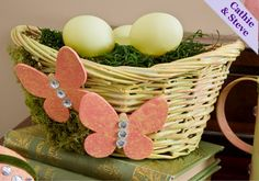Easter Basket made with folkart paint, by Cathie and Steve #plaidcrafts #easter #folkart
