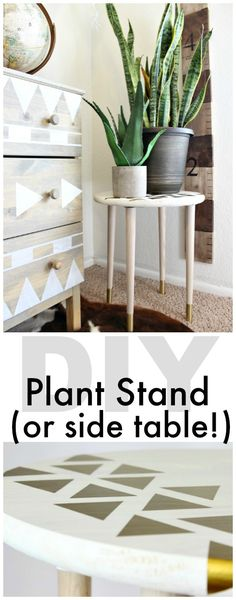DIY Plant Stand or Side Table Tutorial - This is an easy DIY build that anyone can make! Love it! - www.classyclutter.net