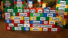 Tons of Legos to use with this idea...use return address labels and HFW or spelling words.