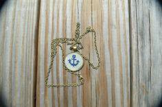 crossstitch anchor necklace  anchor pendant  by mydisheveledducks