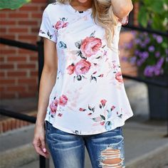Fashion Womens Short Sleeve Floral Shirt Summer Blouse Casual Tops Loose T Shirt Floral Style, Floral Tops, Floral Prints, Collars For Women, Blouses For Women, Summer Blouses, Floral Fashion, Floral Shorts, Printed Blouse