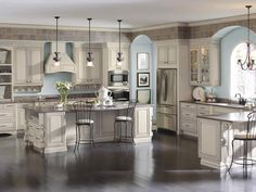 Try this elegant kitchen with cabinets by Diamond Cabinetry  (Selena Maple doors in Coconut with Grey Stone glaze)