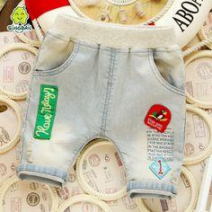 verão menino bebé joelho algodão comprimento crianças calças de ganga fina calças das crianças openable virilha harém shorts jeans frete grátis em Shorts de Bebê - Meninas de Roupas & acessórios no AliExpress.com