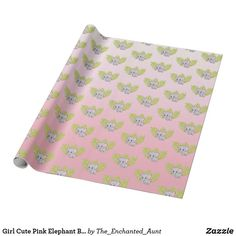 Shop Girl Cute Pink Elephant Baby Shower Wrapping Paper created by The_Enchanted_Aunt. Cute Baby Shower Ideas, Baby Girl Shower Themes, Fun Baby Shower Games, Baby Shower Decorations, Baby Girl Elephant, Elephant Baby Showers, Pink Elephant, Unique Wrapping Paper, Wrapping Paper Design