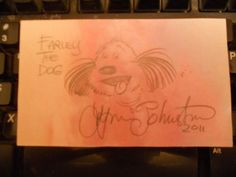 LYNN JOHNSTON-AUTOGRAPH/SIGNED INDEX CARD-FOR BETTER OR WORSE- FARLEY THE DOG
