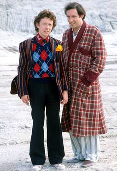 The Hitchhiker's Guide to the Galaxy (1981).  Image shows from L to R: Ford Prefect (David Dixon), Arthur Dent (Simon Jones).