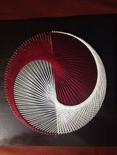 "string art portrait yin yang red white black circle picture 16"" square in Art, Art from Dealers & Resellers, Textile Art 