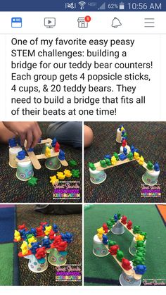 Do you like doing fun STEM activities with my students? This activity on the teddy bear bridge … Stem Science, Preschool Science, Preschool Classroom, Classroom Activities, Preschool Activities, Steam For Preschool, Pet Theme Preschool, Bear Crafts Preschool, Preschool Library