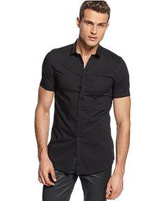 Calvin Klein Shirt, CK One Short Sleeve Poplin Shirt - Macy's