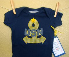 USN United States Navy Anchor Appliqued Onesie or by TokenBlonde, $18.00