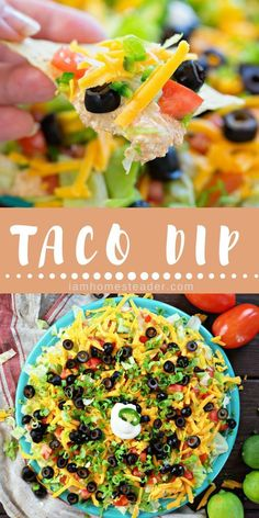 Want some Easy Weekend Snack Recipes? Make this Taco Dip. This Taco Dip recipe packed with flavor and layers of fresh cut veggies. Perfect for game days, parties, or just a weekend snack.For more delicious mouth watering recipes and fresh from garden meal Healthy Superbowl Snacks, Game Day Snacks, Game Day Food, Healthy Dips, Healthy Meals, Dip Recipes, Easy Dinner Recipes, Appetizer Recipes, Snack Recipes