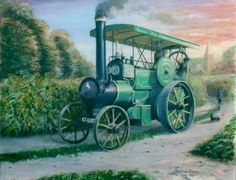 Original oil painting by Barrie Cann - Steam Traction Engine #oil #painting #traction #engine #steam #tractors #art #Barrie #Cann #barriecann