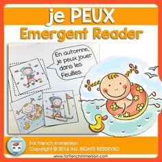 FRENCH Emergent Reader - je PEUX (+4 seasons). Pour les lecteurs débutants. En français. Emergent Readers, Teaching French, French Language, Jouer, Student, Camping, Culture, Reading, Sports