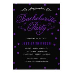 """Sparkling purple and glittering """"Bachelorette Party"""" with optional confetti glitter.  Striped backer is also optional."""