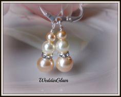 Pearl Bridal Earrings, Wedding Earrings, Peach Ivory Pearl Earrings, Wedding Jewelry, Rhinestone Pearl earrings