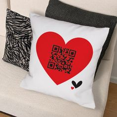 QR Code Pillow - Personalized QR Code Heart Throw Pillow. Cuddle up to your love with a Throw Pillow Personalized with your special message. Choose any of our secret messages to let them know how much they mean to you. With their Barcode Scanner Application#44; they can keep scanning and scanning to never forget the love you both share. This makes a wonderful gift for Valentine?s Day#44; Sweetest Day or even an Anniversary gift. Our Romantic Throw Pillow is available on our premium 9.5oz ...