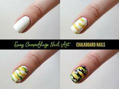 Camouflage Nail Art Tutorial - Chalkboard Nails - #nailart #nails #chalkboardnails #camouflage - bellashoot.com