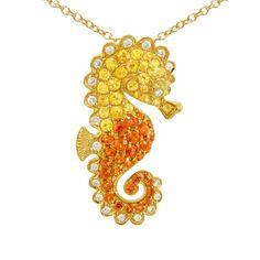 18K Gold, 0.63CTW Yellow and Orange Sapphire, 0.08CTW Diamond Pendant by Cherie Dori Jewelry