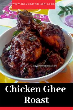 Chicken ghee roast recipe with step by step photos and a video. Manglorean chicken ghee roast is a yummy combination of chicken and ghee roasted spices. Indian Chicken Dishes, Indian Chicken Recipes, Roast Chicken Recipes, Veg Recipes, Curry Recipes, Kitchen Recipes, Lunch Recipes, Indian Food Recipes, Vegetarian Recipes