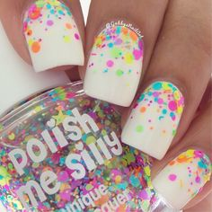 """""""I saw @badgirlnails do a glitter gradient with @polishmesilly2-""""Funfetti"""" and I couldn't resist doing it too This is pretty simple but would you guys still want a tutorial for it?"""" Photo taken by @gabbysnailart on Instagram, pinned via the InstaPin iOS App! http://www.instapinapp.com (04/28/2015)"""