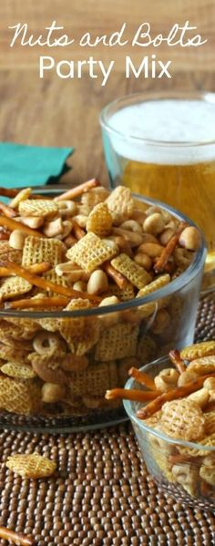 Nuts and Bolts Party Mix is an improved old-timey recipe that can keep an army snack happy.  Improved with a few seasonings and so very easy to make. via @VeganFreezer