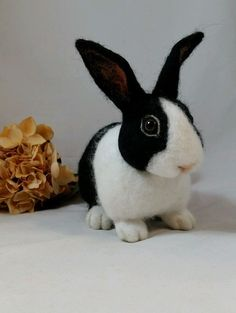 OOAK Needle Felted Realistic Black and White Rabbit Bunny by Tatiana Trot Needle Felted Animals, Felt Animals, Needle Felting, Black And White Rabbit, Felt Bunny, Black Felt, Felt Toys, Pet Birds, Bunny Rabbits