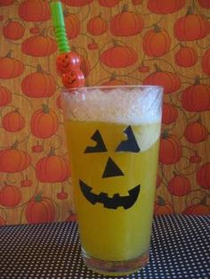 "Halloween - Foods: A fuzzy ""Pumpkin"" Drink is a delicious thing! Halloween Activities For Kids, Halloween Foods, Pumpkin Drinks, Tableware, Crafts, Dinnerware, Manualidades, Dishes, Handmade Crafts"