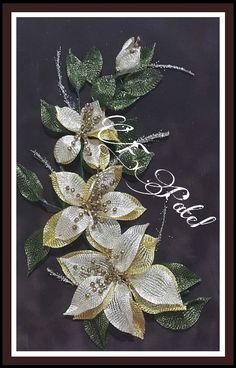Titanyum calisma Wire Flowers, Burlap Flowers, Beaded Flowers, Crochet Flowers, Lace Jewelry, Gold Work, Wire Mesh, Handmade Flowers, String Art