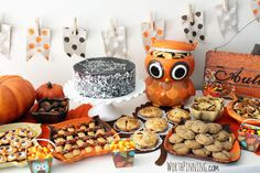Cute, mini dessert treats at a Thanksgiving Party.  See more party ideas at CatchMyParty.com  #thanksgivingpartyideas