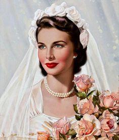 belles images pin up - Page 8 Pin Up Vintage, Vintage Bridal, Vintage Beauty, Vintage Art, Vintage Ladies, Wedding Bride, Wedding Day, Bling Wedding, Floral Wedding
